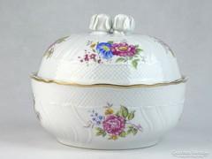 0J350 Hatalmas Hollóházi porcelán rózsás bonbonier