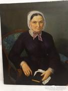 Bieder olajfestmény: Hölgy arcképe, 1800-as évek közepe