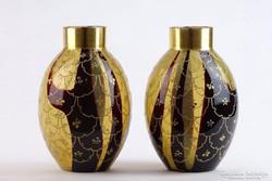 0J559 Régi aranyozott fújt üveg váza pár 16.5 cm