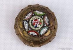0J754 Régi mozaik zománc réz szelence