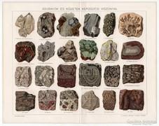 Ásványok és kőzetek, Pallas színes nyomat 1894, eredeti