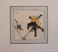 Madárka sárga gyümölccsel, kínai festmény