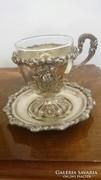 2 db Antik ezüst kávéscsésze+ csészealj