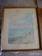 Gyönyörű Lazetzky akvarell kép fürdőzők