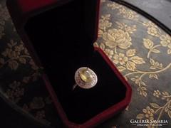 Ritka sárga zafír és fehér topáz ezüst gyűrű 925