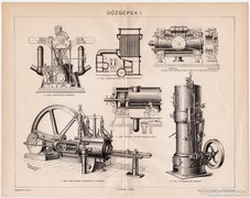 Gőzgépek I., Pallas nyomat 1898, eredeti, antik