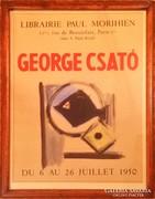 Csató György keretezett kiállítási plakát. Párizs 1950