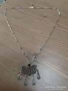 Régi filigrán izraeli ezüst nyaklánc medál-brossal