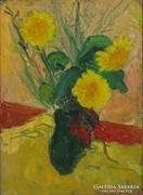0J613 Jelzetlen asztali virágcsendélet vázában