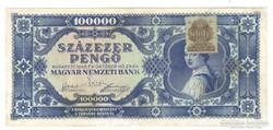 Kék 100000 pengő, bélyeggel.