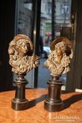 Barokk bronz mellszobrok párban 1700-as évek, Franciaország