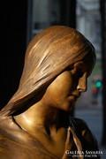 Hans Müller!!! (1873-1937) Női mellszobor-tömör bronzszobor