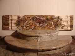 Márvány mozaik kép fácános csendélet eladó