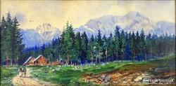 0J638 Smart A. jelzéssel : Alpesi táj akvarell