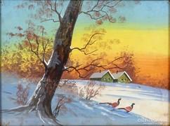 0J666 Jelzés nélkül: Téli erdő fácánokkal akvarell