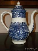 Staffordshire Coaching Taverns 1828 kék kancsó,kiöntő