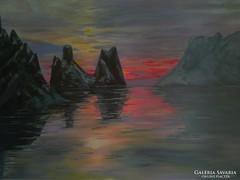 Naplemente a sziklák között  tájkép  festmény