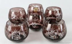 0J690 Régi színes likőrös kristály pohár készlet