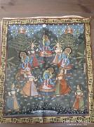 Gyönyörű régi kézzel festett indiai selyemkép