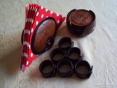 Fa poháralátét készlet,bőr szalvéta tartó+bőr szalvéta gyűrű