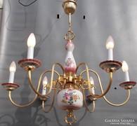 Hatalmas Vintage réz porcelán  flamand csillár