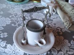Pumpás tinta tartó  , francia gyártmányú  ,. porcelánból  és rézből