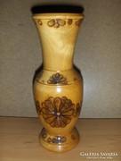 Égetett mintás faváza váza 24,5 cm (25/d)
