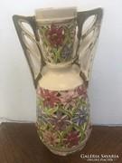 ANTIK áttört FISCHER VÁZA virágokkal aranyozással