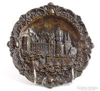 0J884 Régi bronz várkastély falidísz
