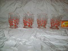 Régi pöttyös gyűjtői boros pohár - négy darab