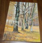 Franzwirt : fák - akvarell tájkép