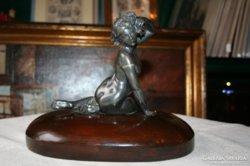Szecessziós ón női szobor