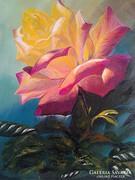 """"""" Egy rózsa szál ..."""" c. festmény , csendélet"""