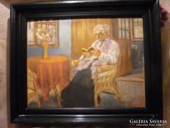 Bálint Rezső Szobabelső olvasó nővel