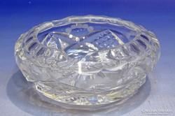 0K081 Régi vastagfalú csiszoltüveg hamutál