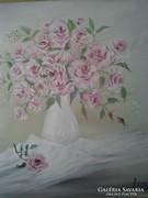 Rózsák fehér vázában c . festmény , csendélet