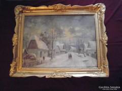 Major Jenő (1871-1945) festménye blondel keretben