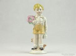 0K423 Jelzet régi GDR porcelán kisfiú figura 13 cm