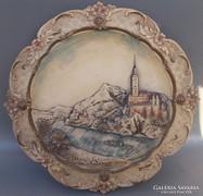 Vár kép fali dísz kerámia tányér