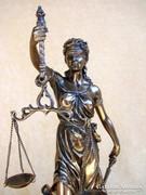 LÁTVÁNYOS JUSTITIA EXKLUZÍV NAGY PORCELÁN-BRONZ SZOBOR, EXKLUZÍV ÁBRÁZOLÁS, LUXUS AJÁNDÉK