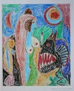 """NÉMETH MIKLÓS """"MESEJELENET"""" (1984) (60X50) OLAJPASZTELL FESTMÉNY EREDETI"""