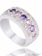 Ezüst gyűrű kétféle színű lila kővel 7-es  ÚJ!