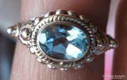 925 ezüst gyűrű 16,9/53 mm égkék kvarccal