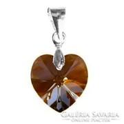 Swarovski kristály medál -10mm-es szív ab-s