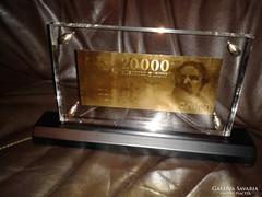 20.000 FORINT ARANY BANKJEGY UNC Ft LUXUS ASZTAL VITRIN DÍSZ
