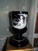Antik viktoriánus Mary Gregory  kézzel festett üveg kupa / váza