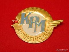 KPM Autófelügyelet, retro, veterán autós kitűző