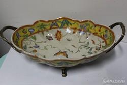 Bronzzal kombinált szecessziós porcelán asztalközép!
