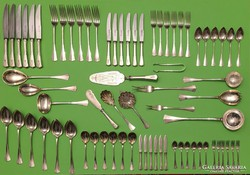 Antik 6 személyes ezüst evőeszköz és tálaló készlet