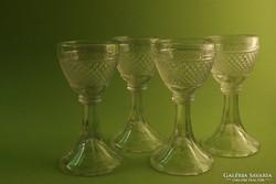 Antik  vastag falú likőrös poharak 4 db